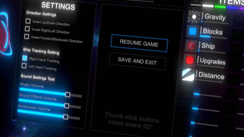 Cosmotic Blast pause menu